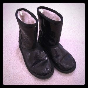 Almost New black sequins midcalf Girls Boots